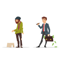 cartoon style characters poor and rich man vector image