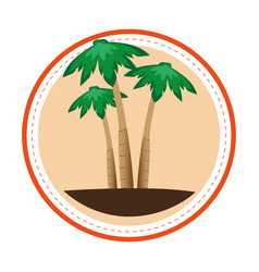 Color circular frame with palm trees vector