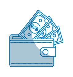 contour wallet with dolars bills inside vector image vector image