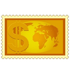 Dollar and Globe on stamp vector image vector image