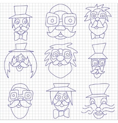 Hipster faces with mustaches and sunglasses vector image vector image