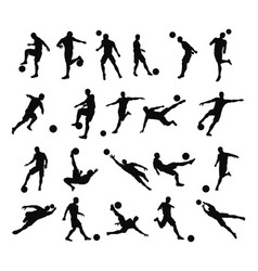 soccer football player silhouettes vector image