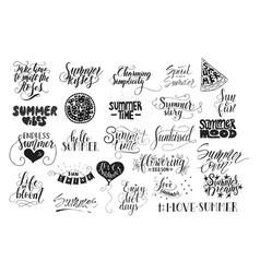 big bundle of 25 hand drawn summer quotes vector image vector image