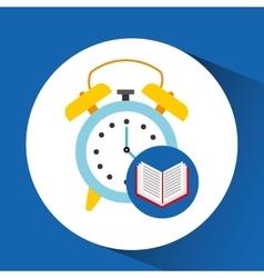 Book school open and clock vector