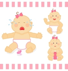 Cute cartoon small pink baby girl vector image vector image