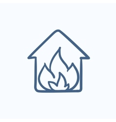 House on fire sketch icon vector image vector image