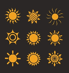 Set of glossy sun images vector image vector image