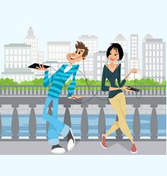 young couple in headphones vector image