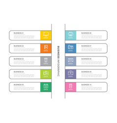 10 data infographics tab index template with thin vector