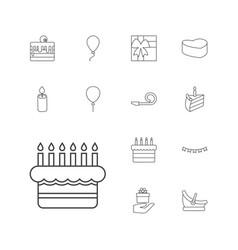 13 birthday icons vector
