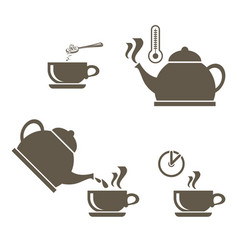 a set of icons for brewing tea in a cup that vector image