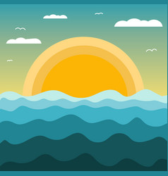 abstract sunset landscape on the sea with waves vector image