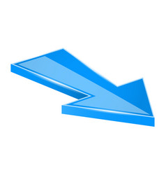 Arrow blue moving down 3d icon vector