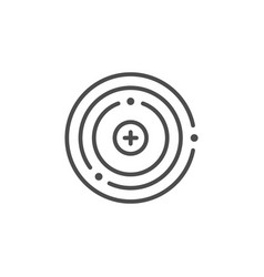 Atom structure line outline icon vector