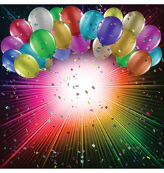 Balloons on starburst background vector image