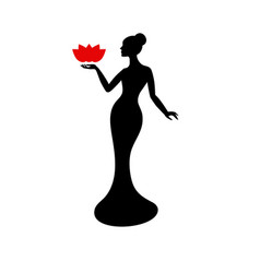 beautiful lady silhouette beautiful lady vector image