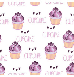 beautiful yummy blueberry cupcake seamless vector image