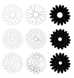 Black and white daisy flower on white background vector