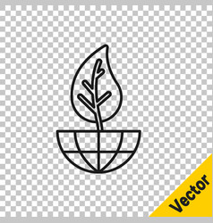 black line earth globe and leaf icon isolated on vector image