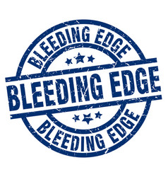 Bleeding edge blue round grunge stamp vector