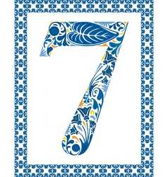 Blue number 7 vector image