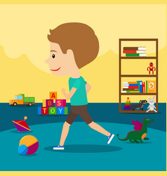 boy runs around toys in kindergarten vector image