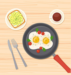 Breakfast with fried eggs on frying pan coffee vector