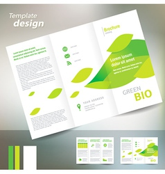 Brochure folder leaflet bio eco green leaf nature vector