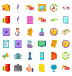 Business meeting icons set cartoon style vector