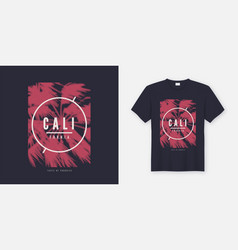 california t-shirt design with stylized vector image