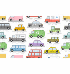 Car seamless pattern flat colors style il vector