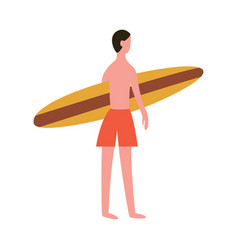 cartoon man holding a surfboard seen from back vector image