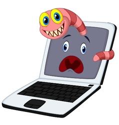 Cartoon Worms breaks into a computer vector image