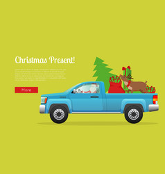 Christmas present web banner with santa on pickup vector