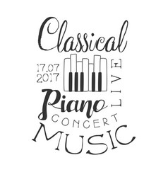 Classical piano live music concert black and white vector