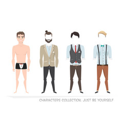 clothing sets for men constructor character vector image