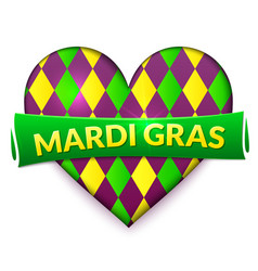 colorful heart mardi gras sign vector image