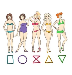 Colorful set of isolated female body shape types vector