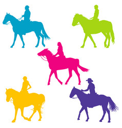 Colorful silhouettes of horse riders vector