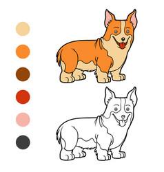 Coloring book dog breeds welsh corgi vector