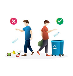 correct and wrong behavior littering waste vector image