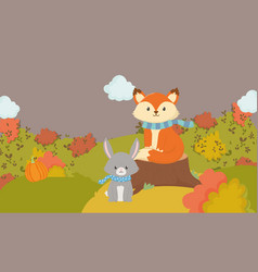Cute fox and rabbit with scarf animal hello autumn vector