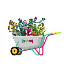 day of the dead wheelbarrow and skeleton skull in vector image