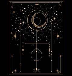Decorative tarot card with cosmic motives vector