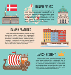 denmark banner set with danish sights features vector image