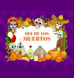 Dia de los muertos mexican day dead symbols vector