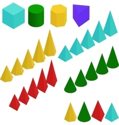 Diagram Graph chart pyramid and prism signs vector