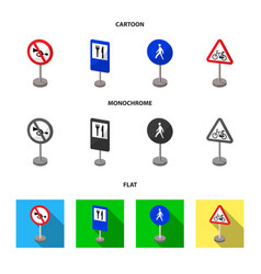 Different types of road signs cartoonflat vector