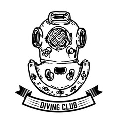 diving club hand drawn vintage diver helmet vector image