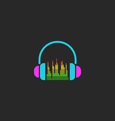 DJ headphones and equalizer sign mockup sound wave vector